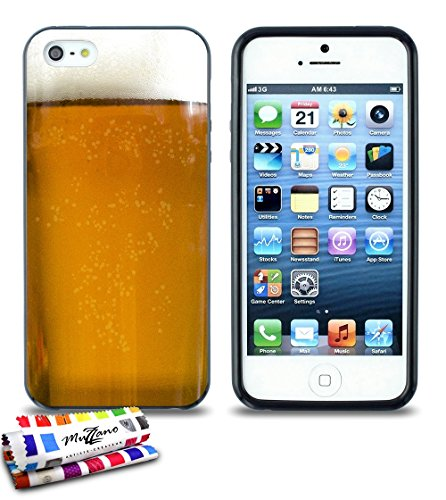 Ultraflache weiche Schutzhülle APPLE IPHONE 5S / IPHONE SE [Bier] [Lila] von MUZZANO + STIFT und MICROFASERTUCH MUZZANO® GRATIS - Das ULTIMATIVE, ELEGANTE UND LANGLEBIGE Schutz-Case für Ihr APPLE IPHO Schwarz