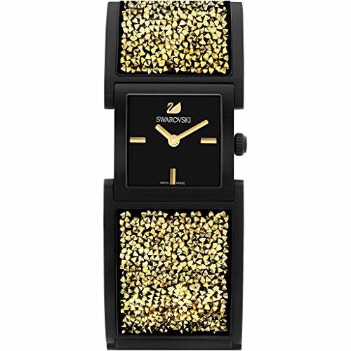 Bracciale/orologio swarovski modello crystalline in colore nero con cristalli colore oro, quadrante da 23 millimetri e movimento al quarzo svizzero 5027136