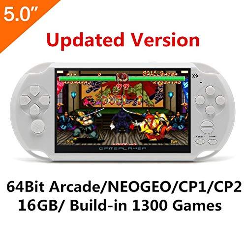 5 pulgadas de pantalla LCD de 8GB 64Bit consola de juegos de mano retro incorporado 1200 + no-repetir los juegos con MP4 MP5 Función Soporte Arcade NEOGEO/CPS/FC/NES/SFC/SNES/GB/GBC/GBA/SMC/SMD/SEGA (White)
