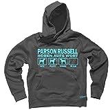 PARSON RUSSELL TERRIER Jack Russel - HÖREN AUFS WORT Unisex Hoodie Kapuzensweatshirt Pullover Fun Siviwonder dark grey 3XL