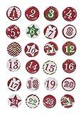 FOLIA Adventskalenderzahlen Buttons 24 Stück 2,5cm rot mit Nadel Metall