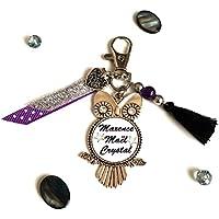 Porte clés prénom texte personnalisable ♥ Swarovski et Pompon ♥ Porte clés personnalisé - Idée cadeaux couleur 2018