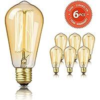 Bombilla Edison SEALIGHT Vintage Retro Decorativa Bombillas Lamparas Blanco Cálido ST58 E27 220-240V 60W Antigua Regulable Lámpara Bulbo Filamento (6 Piezas)