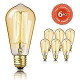 Edison Vintage Glühbirne SEALIGHT dekorative Retro Lampe Glühlampe Warmweiß E27 60W ST58 Antike Stil Beleuchtung dimmbar Licht Bulb mit Squirrel Cage Filament Ideal für Haus Café Bar (6 Stücke)