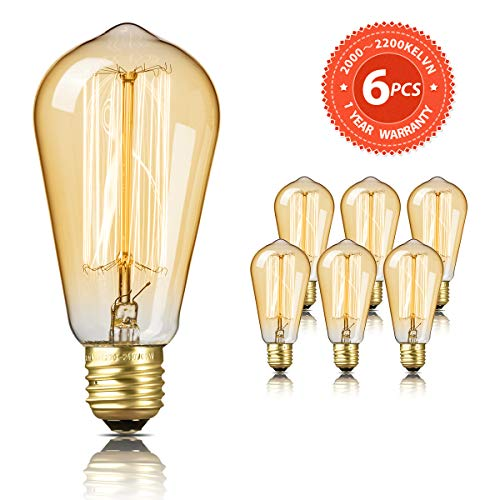 Bombilla Edison SEALIGHT Vintage Retro Decorativa Bombillas Lamparas Blanco Cálido ST58 E27 220-240V 60W Antigua Regulable Lámpara Bulbo Filamento (6 Piezas)