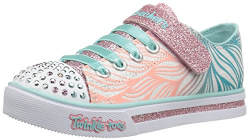 Skechers Girls Sparkle Glitz-Shiny Spirit Low-Top Sneakers, White (Wmnt), 1.5 UK 34...