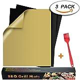BBQ Grillmatte (3er Set) zum Grillen und Backen Antihaftbeschichtung Grillmatte für Holzkohle Grill, elektronisches Grill, Backofen, Dampf-Backofen, Mikrowelle, etc. 33x40CM