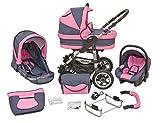 Kombi Kinderwagen X6 - 3 in 1 - Kombikinderwagen Buggy graphit-rosa