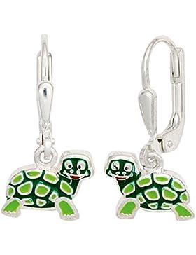 JOBO Kinder Boutons Schildkröte grün 925 Sterling Silber Ohrringe Ohrhänger