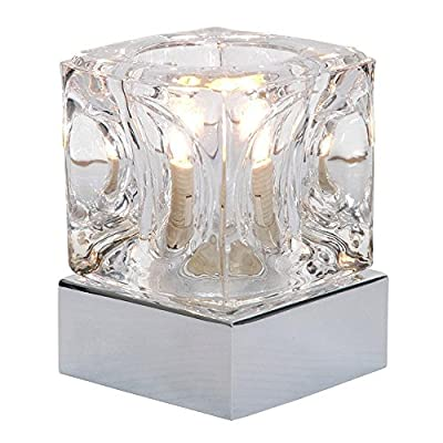 Modern Glass Ice Cube Touch Table Lamp with Metal Base