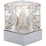 Moderne Tischlampe aus Glas mit Touch-Me Basis in chrom und tollem Eiswürfeldesign
