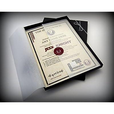 Jedi Knight personalizado Certificado–presentado en una bonita caja de regalo–el regalo perfecto para tu Fan de Star Wars–Completo con un hecho a mano con sello de cera y una auténtica holograma
