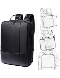YAOHU Slim Laptop Mochilas Hasta 15,6 Inch Nylon resistente al agua ligero bolsa de negocios College bolsa de hombro Travel daypack,negro