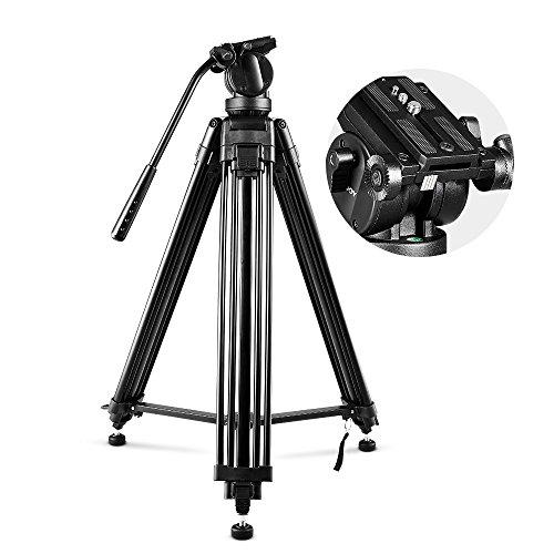 Video Stativ, Professionelle Aluminium-Legierung-Kamera Stativ Panorama Flüssigkeit Hydraulikkopf Kugelkopf für HD Kamera DSLR und Kamkorder Höhe max: 155CM/61-Zoll (Aluminium-pfanne Rack)