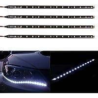TABEN 12V Coche Motocicleta 30CM LED Tira de luz Flexible Impermeable Blanco 1210-15SMD (Paquete de 4)