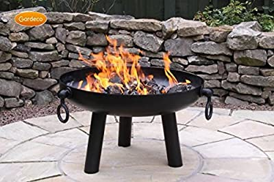 Gardeco Dakota Steel Fire Pit Bowl With Three Handles Medium 60cm