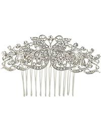 EVER FAITH® - Cristal Vintage Inspirado Mariposa Flor Boda Pelo Peine de Pelo Peineta N03792-1