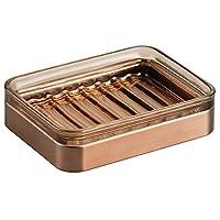 iDesign Casilla Bar Soap Dish for Bathroom Countertop, Vanity, Kitchen Sink-Sand/Venetian Bronze, 11.7 x 8.9 x 2.9 cm