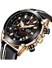Reloj para Hombres, Relojes Deportivo de Cuarzo analógico Impermeable para Hombre Relojes LIGE Lujoso Cronógrafo para Hombre,…