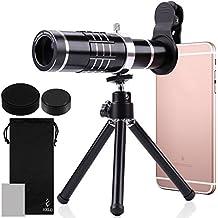 Lente para Móvile, AFUNTA 18X HD Teleobjetivo para la Cámara del Teléfono, Objetivo Zoom Telescope Lente Telescópica con Mini Trípode para iPhone Samsung Smartphone - Negro