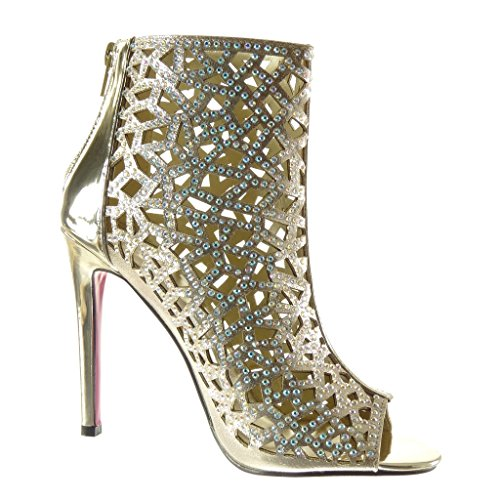 Angkorly Chaussures Mode Bottines Chaussures Peep-toe Sandales Stiletto Sexy Femme Strass Multi-bride Talon Stiletto Haut 11 Cm Or
