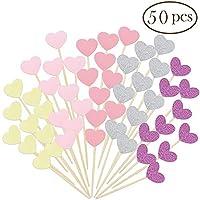 Seronline 50 piezas Mini corazón Cupcake Toppers Glitter Cake Snack decoraciones para fiesta de cumpleaños boda