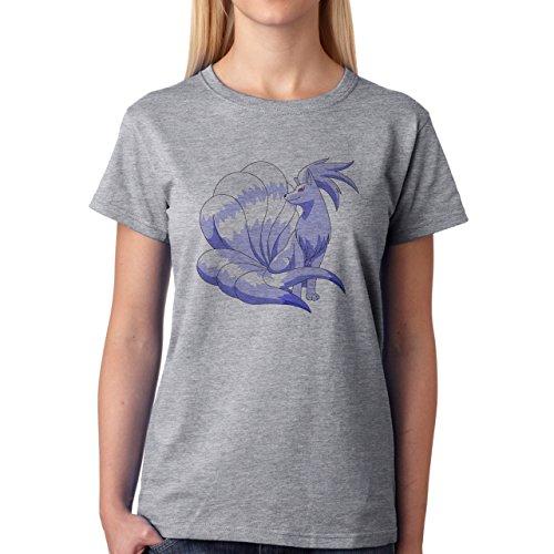 Pokemon Vulpix Ninetales Fire Ice Blue Damen T-Shirt Grau