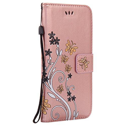 Apple iPhone 7 Plus 5.5 Case,MAGQI Premio Super Slim Fit Flip Pelle Sintetica Portafoglio Stile del Libro Custodia Borsa Con Slot Per Schede Funzione Dello Stand Chiusura Magnetica Sbalzato Rosa Fiore Oro Rosa
