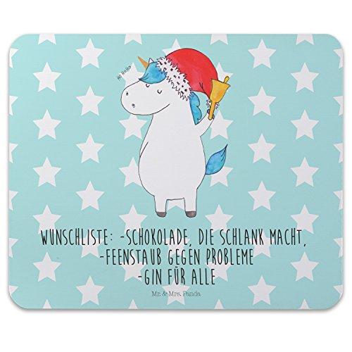Preisvergleich Produktbild Mr. & Mrs. Panda Mauspad Druck Einhorn Weihnachtsmann - 100% handmade in Norddeutschland - Gin, Schokolade, Schoki, Einhorn, Einhörner, Unicorn, Weihnachten, Weihnachtsmann, Nikolaus, Wunschzettel, Wunschliste, Feenstaub Mouse Pad, Mousepad, Computer, PC, Männer, Mauspad, Maus, Geschenk, Druck, Schenken, Motiv, Arbeitszimmer, Arbeit, Büro