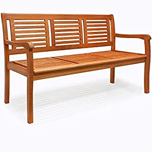 Deuba Gartenbank Bologna | 3-Sitzer FSC®-zertifiziertes Eukalyptusholz | Sitzbank Holzbank Parkbank Balkonbank Bank