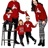 Riou Weihnachten Set Baby Kleidung Pullover Pyjama Outfits Set Familie Frohe Weihnachts kostüme Santa Junge Mädchen Familien Pyjamas Set Lange Ärmel Schlafanzug (S, Mom)
