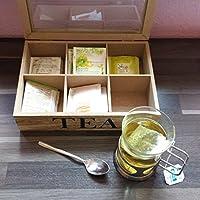 Excellent Houseware k911032Boîte à thé style maison de campagne avec 6compartiments, bois, 24x 16,5x 6,5cm