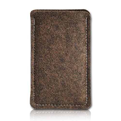 Filz Style Mobistel Cynus E4 Premium Filz Handy Tasche Hülle Etui passgenau für Mobistel Cynus E4 - Farbe dunkelbraun