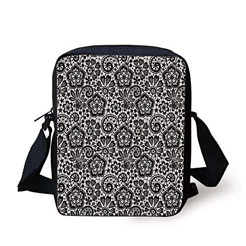 Gothic,Intricate Romantic Pattern with Feminine Design Elements Outline Swirls Blossoms,Beige Black Print Kids Crossbody Messenger Bag Purse -