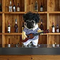 Divertida mascota ropa de guitarra con peluca perro guitarrista vestirse mascota guitarra vestido Cosplay realizar ropa