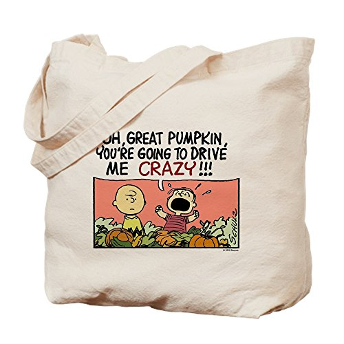 CafePress-Crazy Kürbis Trick or Treat-Leinwand Natur Tasche, Reinigungstuch Einkaufstasche Größe S khaki (Halloween Charlie Brown Lustig)