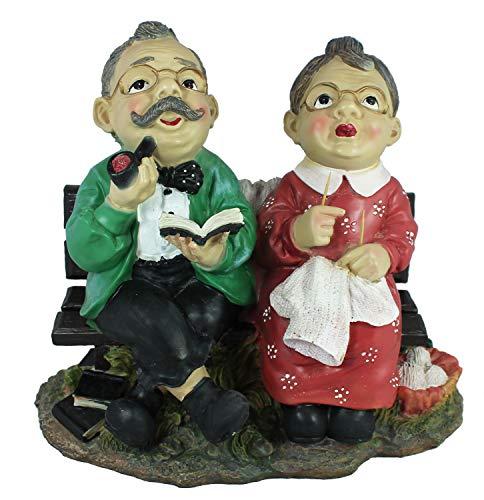 colourliving Gartenfigur Opa und Oma auf der Gartenbank Dekofigur Gartendekoration Opa raucht Pfeife und Oma strickt