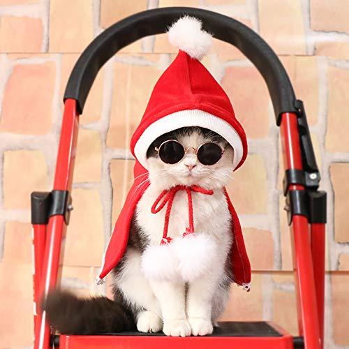 JINQD Heimtierbedarf für Hundekleidung/Katzenkleidung, Neujahr/Weihnachten/Geburtstag Haustier Tuch Party Red Hundekühler Mantel/Hoodie für Hund/Katze Junge oder Mädchen