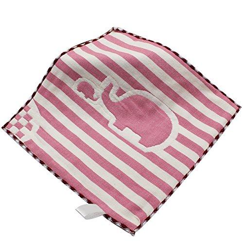 Pengyu bébé visage Rondelles carré bébé Serviettes de bain à laver Douche Nettoyage d'allaitement Serviette 25 cm x 25 cm, Red Stripes Elephant, 25cm x 25cm