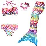3 Pièces Maillot de Bain Princesse Queue de Sirène Mermaid Bikini(Il y a la Boucle...
