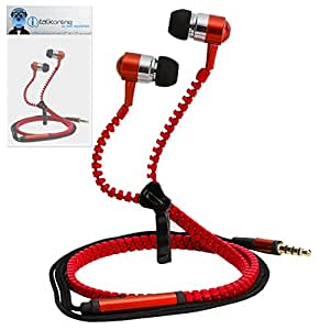 Red Premium 3.5mm Aluminium ZIPPER In Ear Stereo Wired Headset Hands Free Headphones with Built in Mic Microphone and On Off Button For BlackBerry 9720 Samoa
