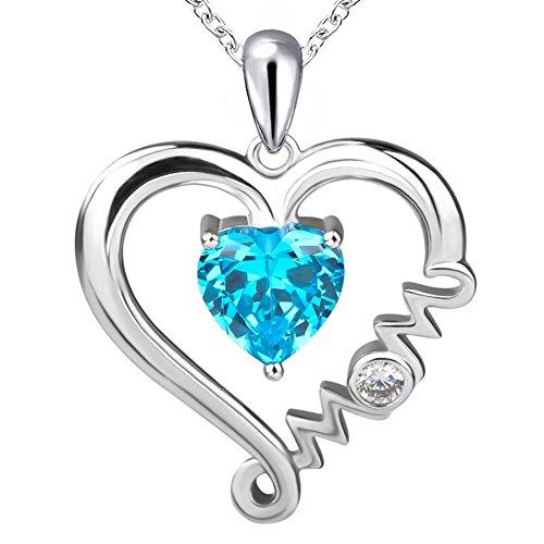 apotie 925Sterling Silber Mom Style Personalisierte Love Herz mit Blau Zirkonia Anhänger Halsketten Geschenk für Mom Schmuck Kette 45,7cm