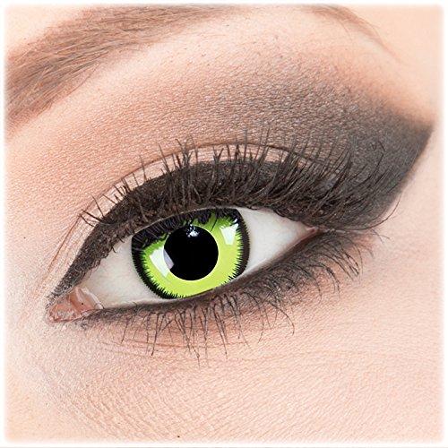 Farbige grüne schwarze Crazy Fun Kontaktlinsen 1 Paar 'Green Lunatic' mit Behälter - Topqualität von 'Evil Lens' zu Fasching Karneval Halloween ohne Stärke