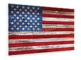 weewado Old Painted American Flag on Dark Wooden Fence - 75x50 cm - Belle stampe d'arte tela textile - arte della parete - Città E Viaggi