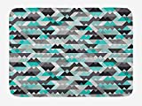 Grey and Turquoise Bath Mat, Futuristic Geometric Mosaic Design with Triangles and Zig Zags, Plush Bathroom Decor Mat with Non Slip Backing, 23.6 W X 15.7 W Inches, Turquoise Grey Black