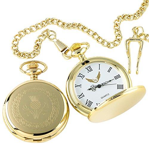 Schottische Distel Taschenuhr 24kt Gold beschichtet scoland Emblem Wappen CRESTED