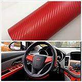 Autocollant de Voiture,Silence Shopping 3D Carbone Fibre Vinyl Car DIY Wrap Feuille Roll Film Autocollant Autocollant Couleur Rouge 127X30cm