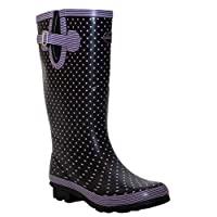 A&H Footwear New Womens Ladies Extra Wide Calf Snow Rain Mud Festival Waterproof Wellington Boots Wellies Sizes UK 4-8 (UK 6, Navy/Lilac Spots)