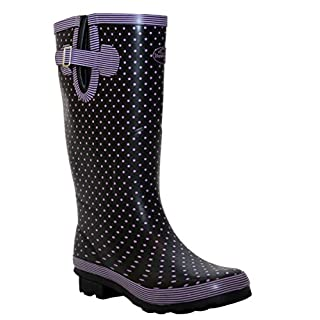 A&H Footwear New Womens Ladies Extra Wide Calf Snow Rain Mud Festival Waterproof Wellington Boots Wellies Sizes UK 4-8 (UK 7, Navy/Lilac Spots)