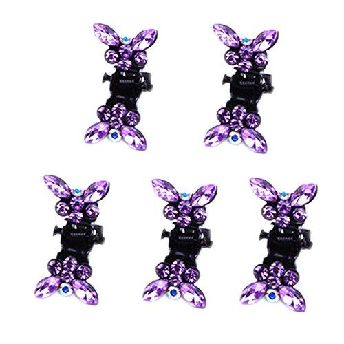 Belle papillon bijoux Filles Clips Mini cheveux, 5 compter, Violet